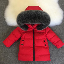 2019 New Baby Boys Girls 90% White Duck Down Long Coats Thicken Jacket Large Fur Collar Down Jacket Children's Wear 2-7y Clothes цена
