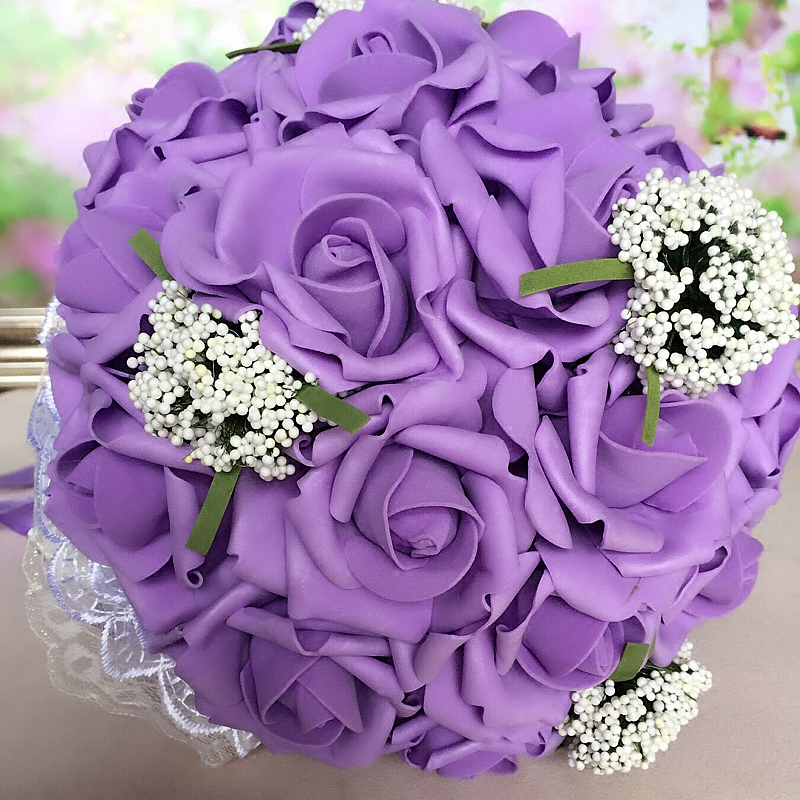 New Bouquet Artificial Rose Flowers PE Foam Bridal Throw Bouquets 30 Wedding Hand Flower 3 Color In Dried