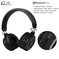HuanYun Bluetooth Earphone Headphone Wireless Stereo Bass Music Sport Headset With Mic Card Slot For Iphone