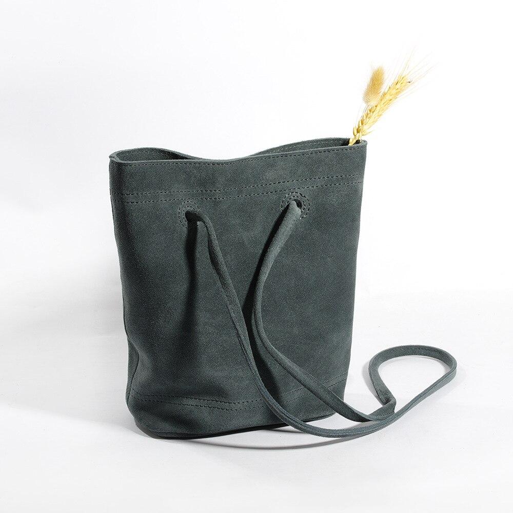 Vintage Real Suede Leather Bucket Bag for Women Simple Design Genuine Leather Lady Shoulder Bag Soft
