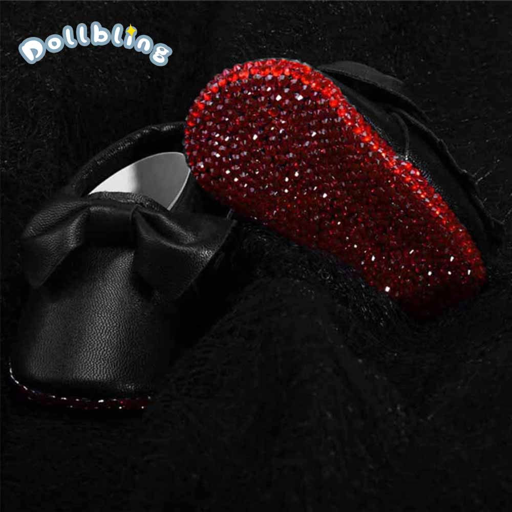 Baby First Walkers Shoes Bowknot Rhinestone Decor Leather Fashion Baby Boy Girl Shoes First Walkers Newborn Moccasins For Infant