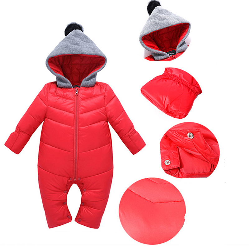 High Quality Baby Rompers Winter Thick Cotton Boys Costume Girls Warm Clothes Kid Jumpsuit Children Outerwear Baby Wear 4 Colors baby children winter kids boys girls double side wear hoodie cloak baby clothes bebe poncho cape coat outerwear