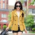 2017 элегантных женщин Хлопок Полиэстер пальто плюс размер 3XL женская мода осень кожа длинное пальто красный черный желтый 5 размеры