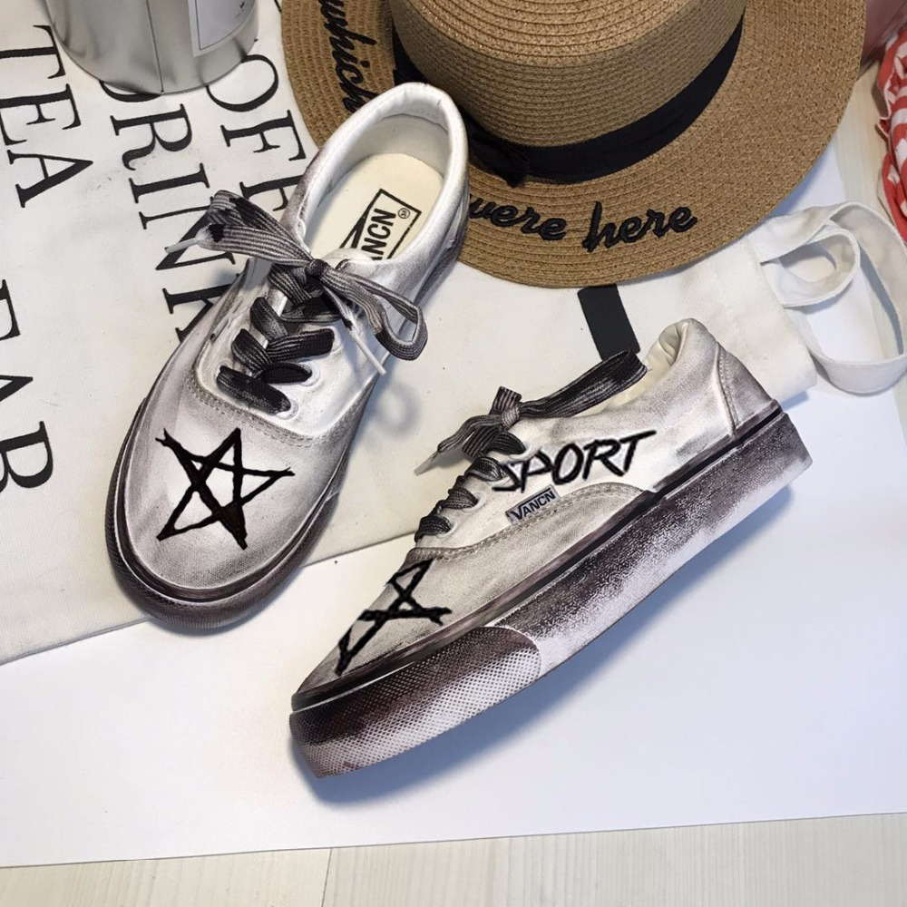 Le Rétro Blanc Chaussures Toile Ulzzang Main Vieux Peint Étudiant Sales Harajuku Quan Faire À La Corée Plat 1 2 Zhilong TnZ417qw15