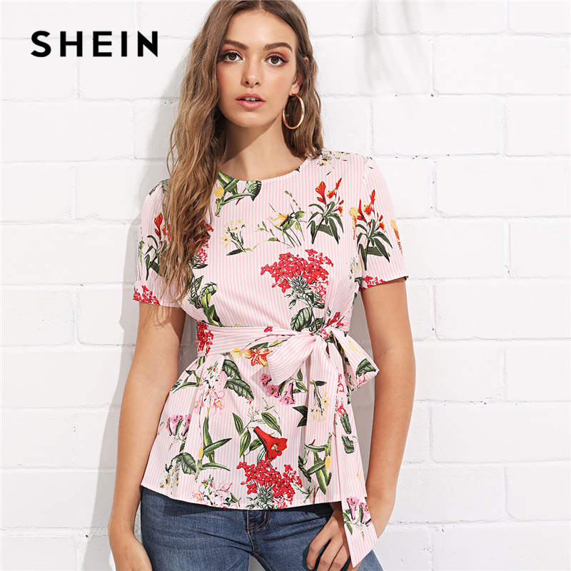 SHEIN Multicolor Vacation Bohemian Beach Floral Print Striped Round Neck Short Sleeve Self Tie Blouse Summer Women Shirt Top