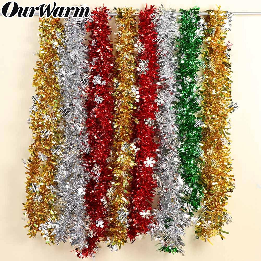 Christmas Ornament Tops.Us 1 19 40 Off Ourwarm 2m Christmas Tinsel Garland Christmas Decorations 4colors Home Bar Tops Ribbon Garland Xmas Tree Ornaments New Year Gift In