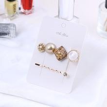 2 Pcs Korean Simple Vintage Palace Style Geometric Button Duckbill Clip Girl Women Fashion Temperament Hairpins Hair Accessories
