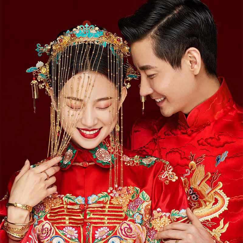 HIMSTORY Luxurious Traditional Chinese Wedding Hair Accessories Retro Costume Princess Queen Tassel Hairwear Headpiece Jewelry in Hair Jewelry from Jewelry Accessories