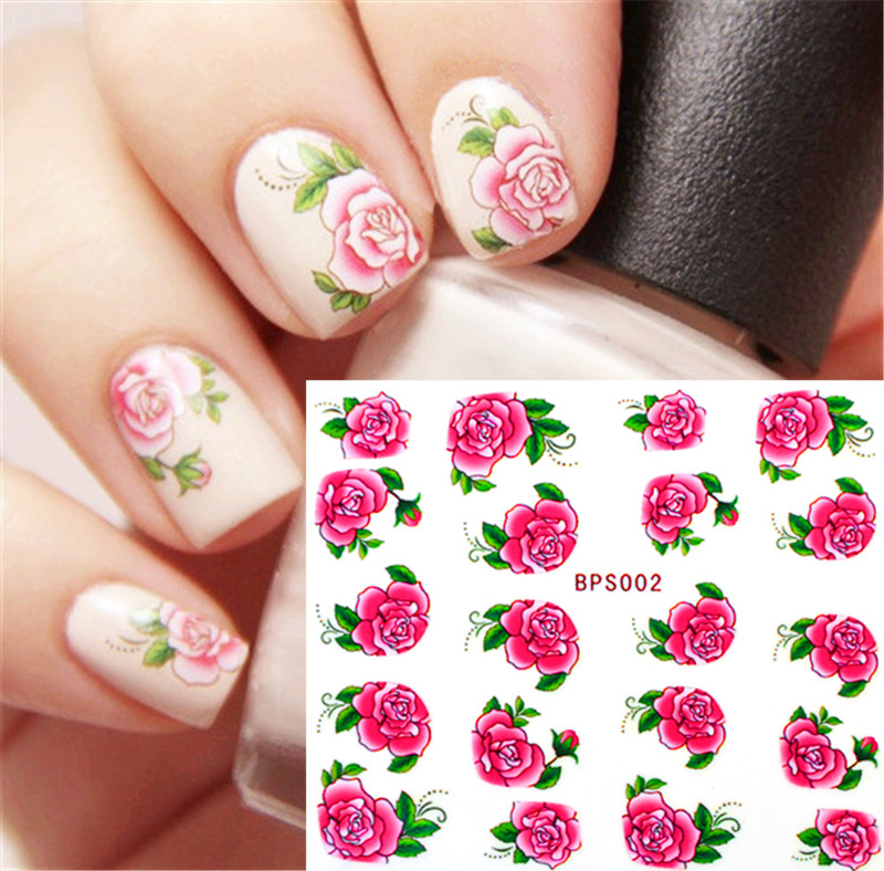 1 sheet Rose Flower Nail Water Decals Transfer Stickers Nail Art Sticker Decorations BPS002 #6577 yzwle 1 sheet chic flower nail art water decals transfer stickers splendid water decals sticker yzw 1398