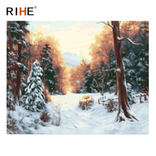 RIHE Sunrise Forest Diy Painting By Numbers Abstract Snow Tree Oil On Canvas Cuadros Decoracion Acrylic Wall Picture