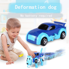 Toys Hobbies - Diecasts  - Free Shipping 4 Colors 14CM Cool Automatic Transform Dog Car Vehicle Clockwork Wind Up Toy For Children Kids Boy Girl Toy Gift