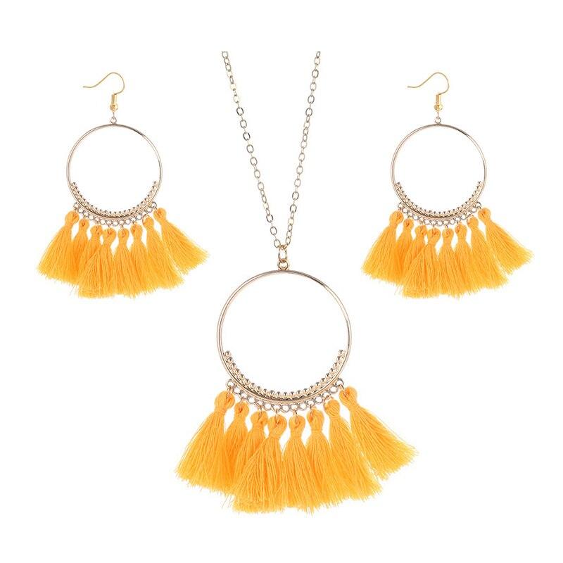 cjh029 Christmas Hoops Tassle Tassel Earrings Necklace Set Drop Fringe Necklace Set