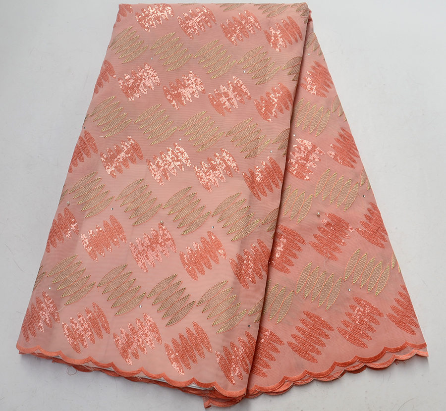 African lace fabric high quality french guipure lace fabric 2018 New arrival Peach sequins Organza Lace Fabric for party dressAfrican lace fabric high quality french guipure lace fabric 2018 New arrival Peach sequins Organza Lace Fabric for party dress