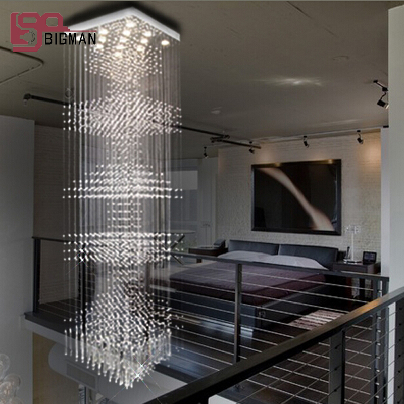 Suspended Style 32 Floating Staircase Ideas For The: New Modern String Crystal Chandelier Crystal Lamp Hanging
