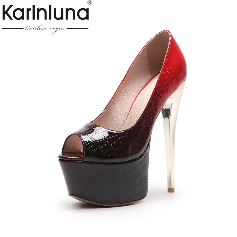 KarinLuna 2018 large size 33-44 slip on women shoes woman thin high Heels peep toe platform Party wedding Pump lapolaka 2018 high quality large size 33 48 slip on thin high heels peep toe shoes woman platform party wedding pump