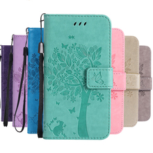 Flip case for Huawei P8lite 2017 P9lite mini protective cover leather wallet cat tree mobile phone