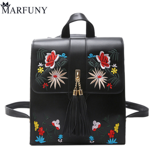 Fashion Embroidery Women Backpack Floral Shoulder Bags Hot Tassel Backpacks School Bags High Quality Leather Backpack Sac A Dos