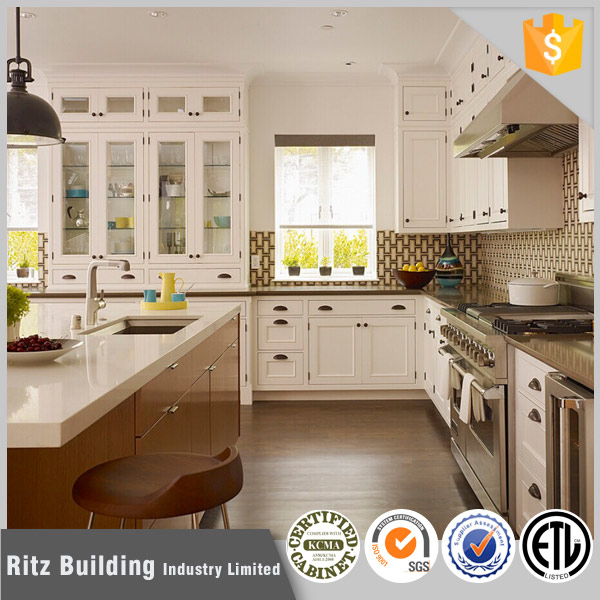 White color shaker style solid wood kitchen cabinets on for Solid wood white kitchen cabinets