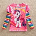 Free shipping new girls long-sleeved cotton T-shirt pony bao li cartoon printed stripes round collar tutu fashion T-shirt LH606