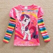 Free shipping new girls long-sleeved cotton T-shirt pony bao li cartoon printed stripes round collar tutu fashion T-shirt LH606