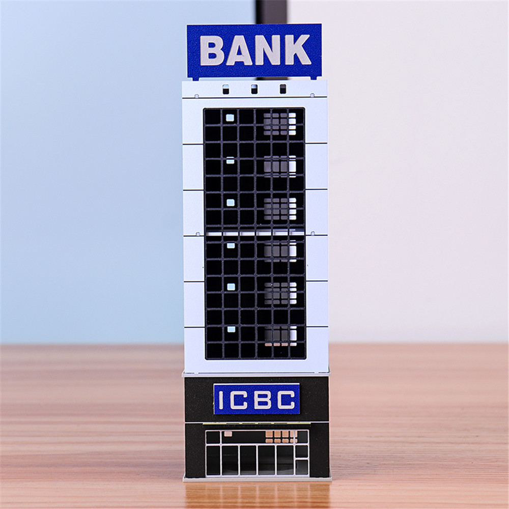 1/150N Scale Outland Sand Table Modern Bank Skyscraper Building Model Assembling House Children DIY Model Building Toys Craft
