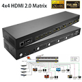 Nuevo 4x4 HDMI Matrix 2.0 Interruptor 4 En 4 HDMI Splitter 1080 P 4 k x 2 k 3D HDTV video audio Switcher Con HDCP2.2, ARCO, IR, RS232_DHL