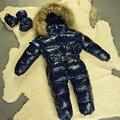 Los niños recién nacidos mamelucos de invierno ganso abajo jumpsuit niños clothing ropa de nieve ropa de bebé, niña, niño traje para la nieve espesar guardapolvos calientes