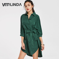 VESTLINDA Green Shirt Dress Women Fall 2017 Fashion Casual Turn Down Collar 3 4 Sleeve Plain