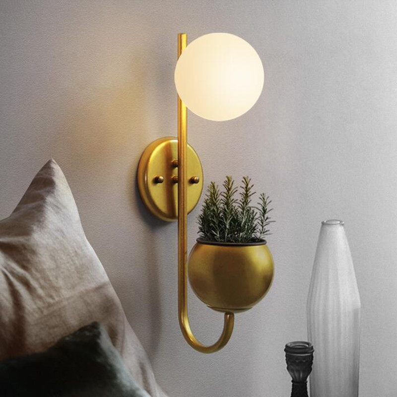 Nordic Postmodern Living Room Background Wall Lamp Bedroom Bedside Glass Ball Plant LED Deco Wall Light