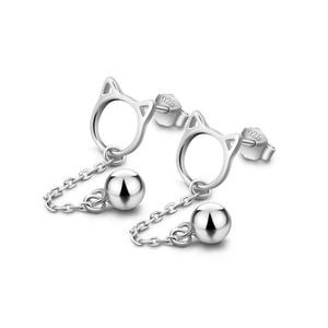 Image 5 - 2019 אופנה מינימליסטי עגילי 925 סטרלינג כסף חמוד סגנון חתול Stud עגילים לנשים בנות ציצית פעמון תכשיטי מתנות