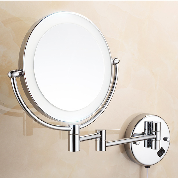 Bath Mirrors Chrome Magnifying Bathroom Wall 9 Inch Brass Round LED Makeup Lighting Mirror Illuminator Make-up Mural 2068 5