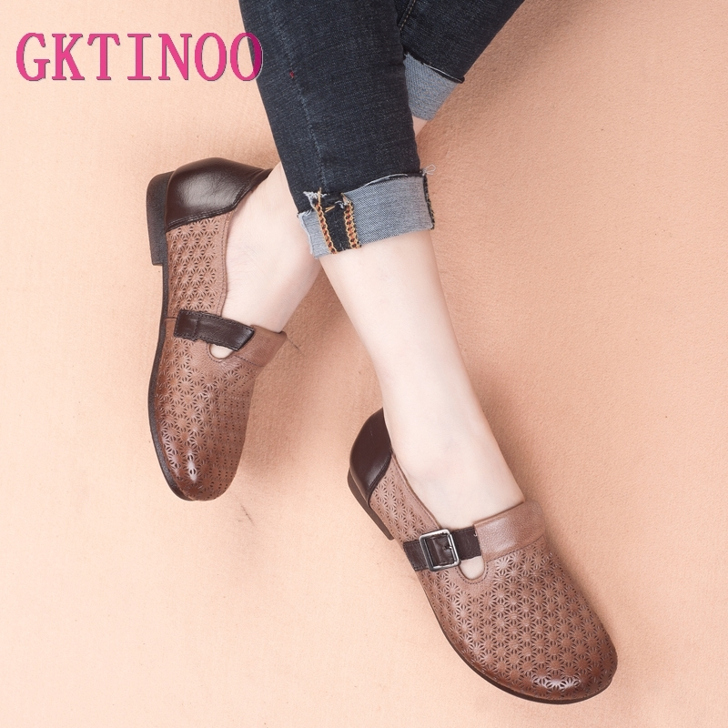 GKTINOO 2019 Autumn New Vintage Handmade Shoes Loafers Genuine Leather Flats Women Shoes Casual shoes Fashion