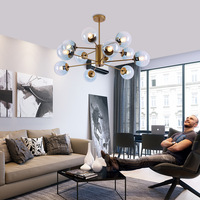 Postmodern LED chandelier Nordic suspension luminaires living room suspended lighting Glass bedroom ball hanging lights fixtures