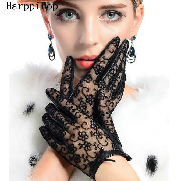 2019 Hot Sale Medival  Women Lace Genuine Leather Gloves Unlined Nappa Lambskin Wrist Sunscreen Glove Free Shipping