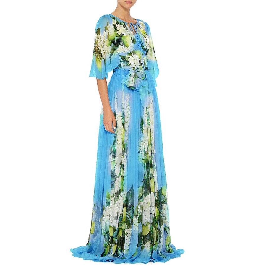 Vacances Plancher Demi Hot Femmes Bleu Mode Long longueur Ciel Pu Manches Impression Empire 2019 Ceinture Printemps Européenne Robes Flare Robe SUVzMp