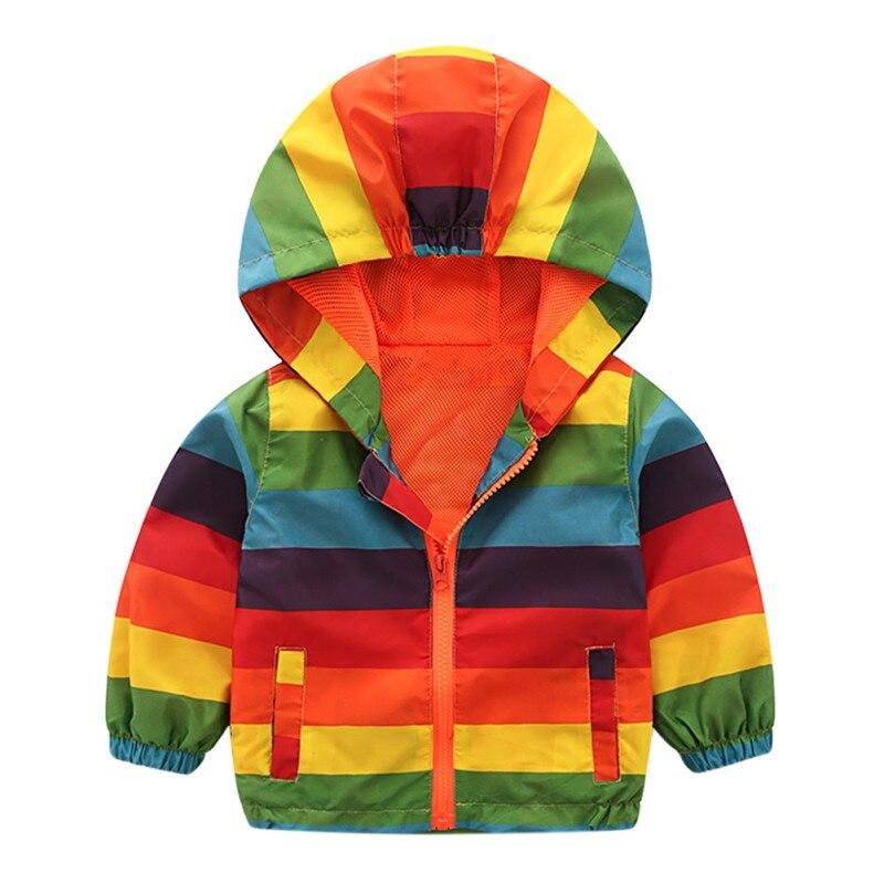 Boys Girl Striped Jacket Children Rainbow Color Kids Hooded Coats Baby Windbreaker Outerwear Coat Newest