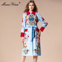 MoaaYina 2018 Fashion Runway Woolen coat Winter Women Long sleeve Angel Floral Print Vintage Noble Elegant Keep warm Overcoat