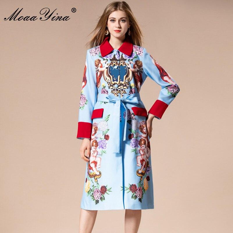 MoaaYina 2018 Mode Piste De Laine manteau D'hiver Femmes manches Longues Ange Floral-Print Vintage Noble Élégant Garder au chaud Pardessus