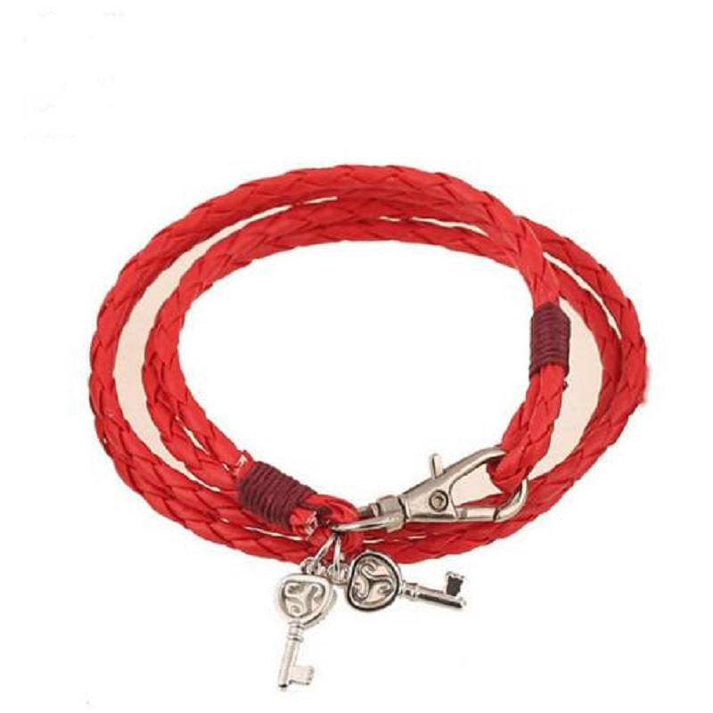 Bracelets & Bangles Latest Collection Of Multilayer Leather Braided Women Bracelet Teen Wolf Triskele Bracelet Hollow Key Pendant Leather Bracelet Wristband Jewelry Cuff