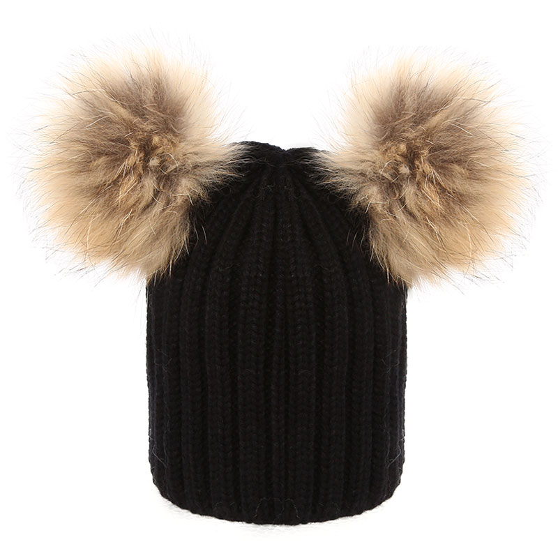 2017 Women Real Raccoon fur hat winter fur pompom hat natural fur beanies knitted wool cotton hat Winter gorro cap Femme pop winter raccoon fur hats real 15cm fur pompom beanies cap natural fur hat 1pc