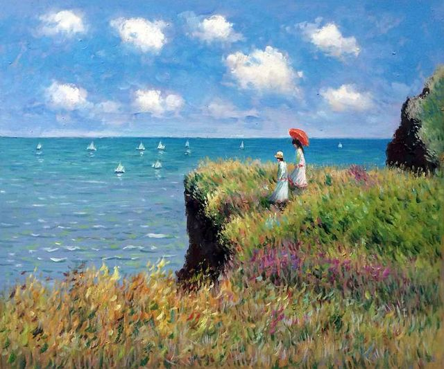 Claude Monet Oil Painting Cliff Walk at Pourville Canvas Wall Pictures for Living Room Canvas Painting Handpainted