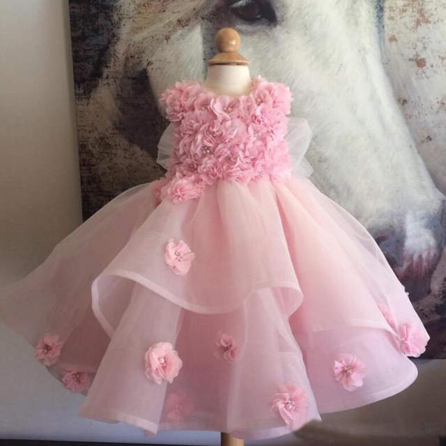Pink Ball Gown Flower Girl Dresses Toddler Pageant Dresses Spring