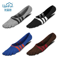 5 Pairs/Lot Spring and Summer Combed Cotton Five finger Socks Men's Socks Stripes Light mouthed Invisible Boat Socks with Toes
