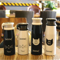 Cute Cat Thermos Cup Cartoon ThermoMug Kids Stainless Steel Vacuum Flask Thermal Child Water Bottle Insulated