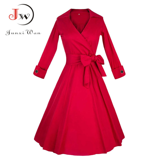 6c31d1b5 US $12.93 45% OFF|Kobiety eleganckie Polka sukienka w kropki 50 s Vintage  Pinup Rockabilly Retro Bow Party biuro suknia szata ete Sexy Big ...