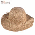 [Xthree] handmade Weave straw hat women summer panamas Vintage Sinamay Fascinator hat for girl