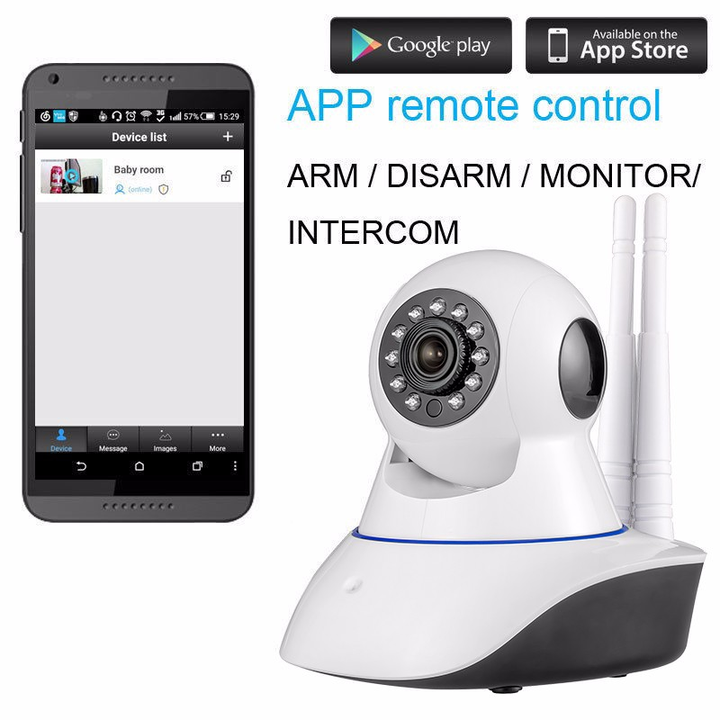 WiFi IP Camera Home Burglar Security smoke fire detector Alarm System+IOSAndroid app remote Control network alarm system 3