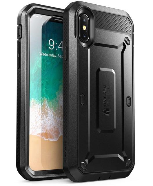 Için iphone X XS SUPCASE kılıf UB Pro serisi tam vücut sağlam kılıf klip kılıf için dahili ekran koruyucu ile için iphone X Xs