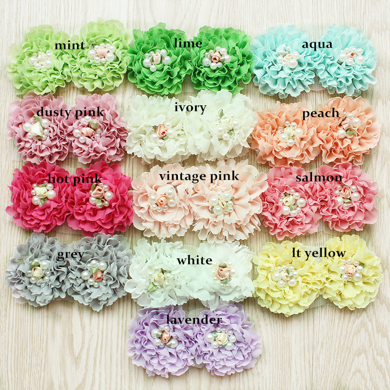 280 pcs lot shabby chiffon flowers pearl chiffon flowers for headband hair accessories
