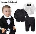 2017 Весенняя Мода Джентльмен Ребенок Мальчик Одежда для новорожденных 3 шт. baby boy одежда наборы для свадьбы костюм + рубашка с бабочкой + брюки
